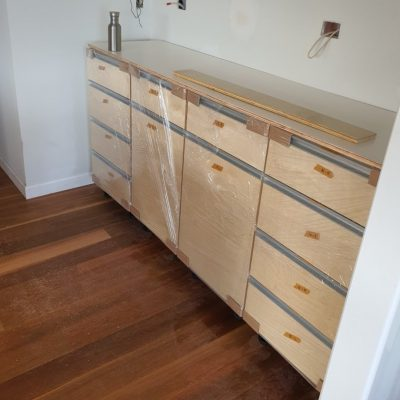 Ply wood cabinet and drawer set