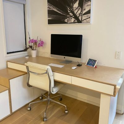 Plywood office desk and storage