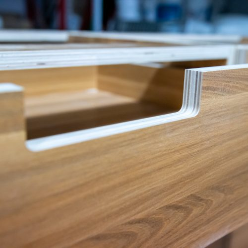 Plywood exposed edge draw front