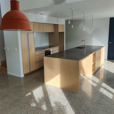 Birch plywood kitchen with stainless top